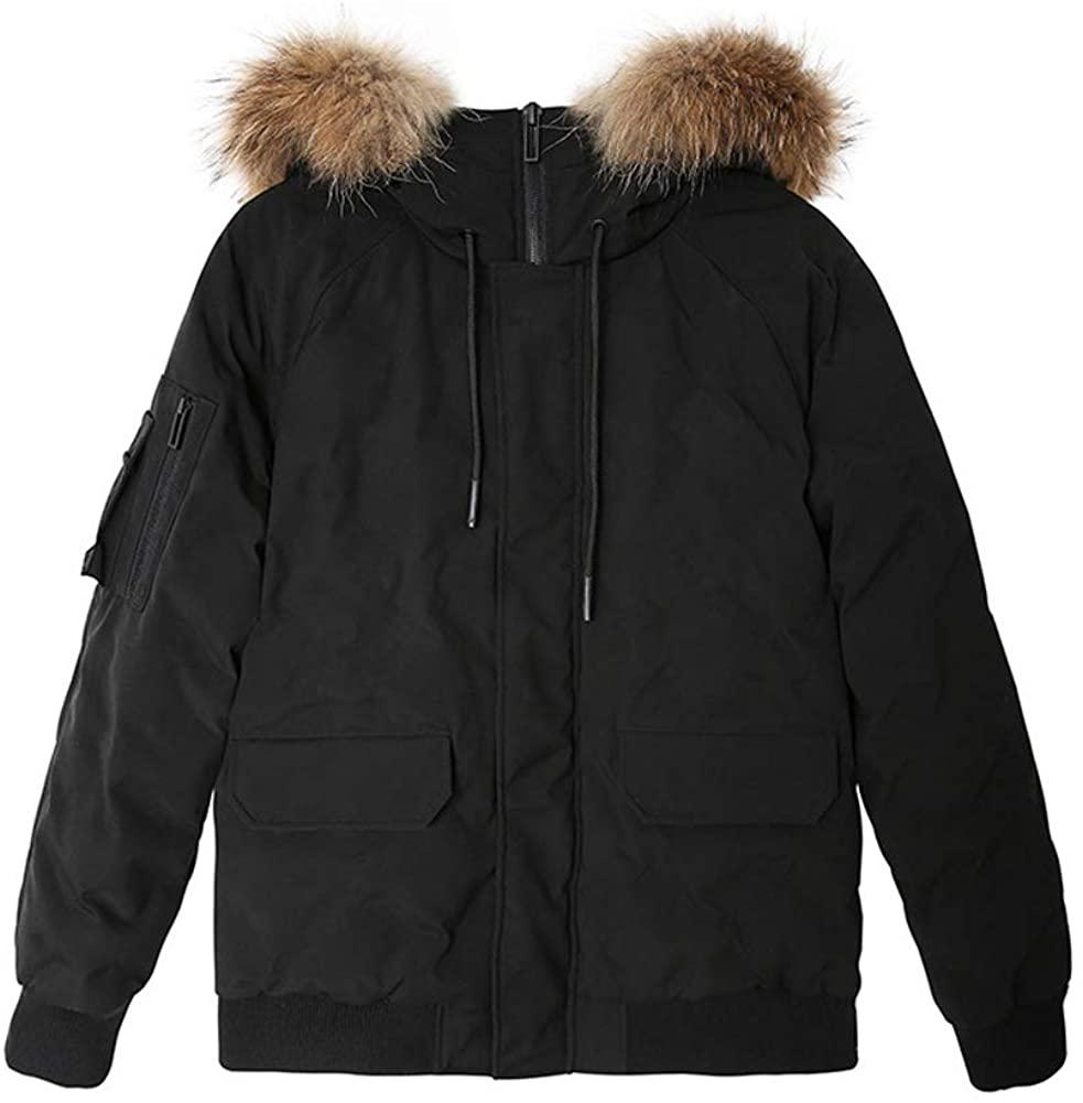 Michealboy Men's Classic Down Filled Hooded Jacket Short Parka Black Winter