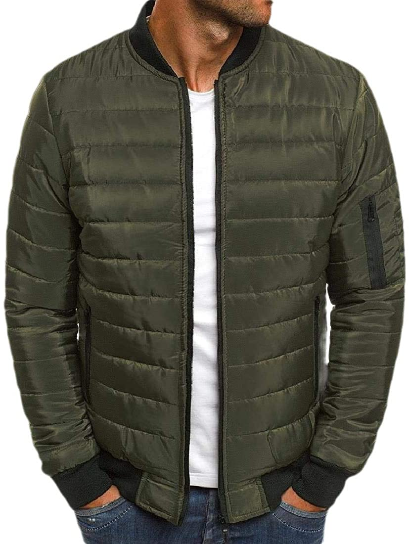 Losait Men's Solid Thickened Zip-Front Warm Winter Relaxed-Fit Parka Jacket
