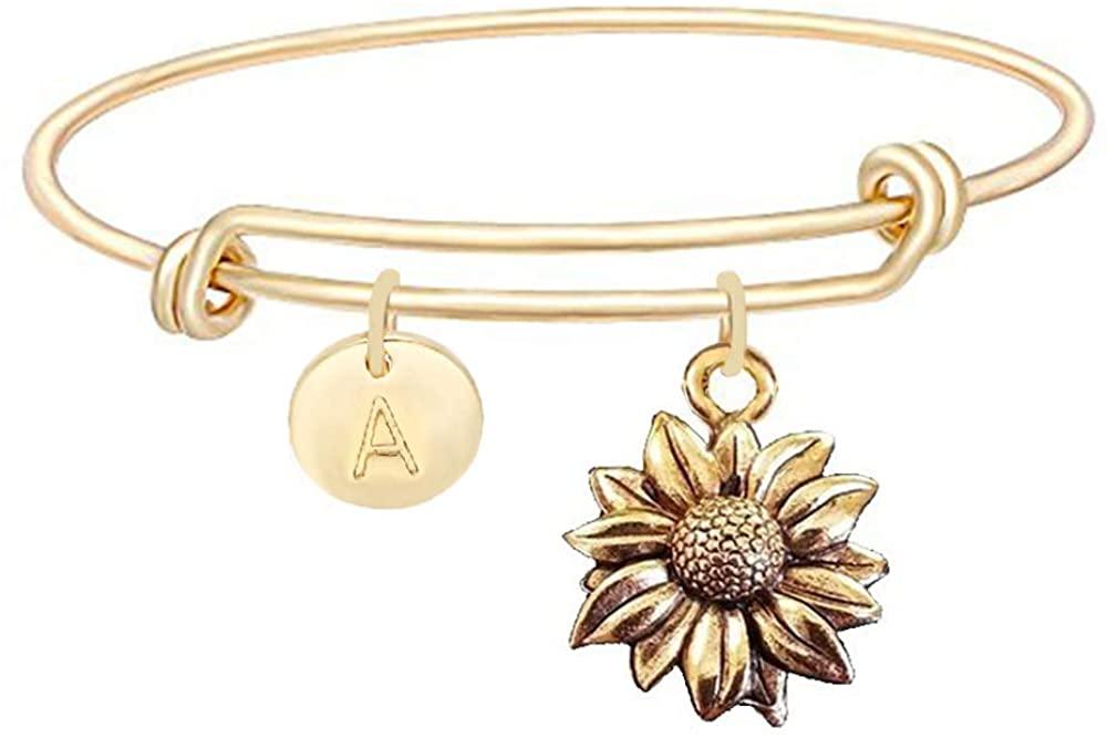 NOUMANDA Antique Gold Silver Tone Sunflower Initial 26 Alphabet Bangle Personalized Retro Pendant Expandable Bracelet