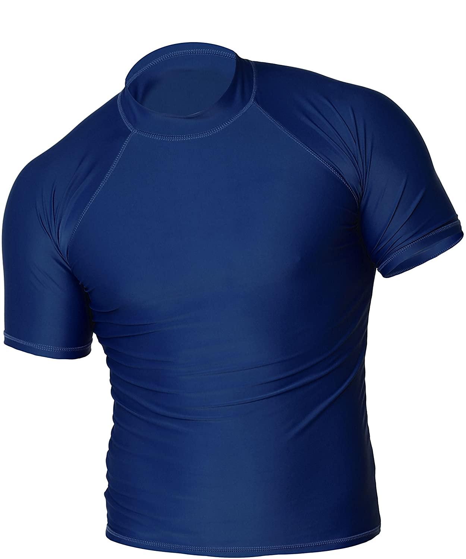 Men's UPF 50+ Easy Short Sleeve Rashguard Swim Tee Sun Protection Surf Shirt