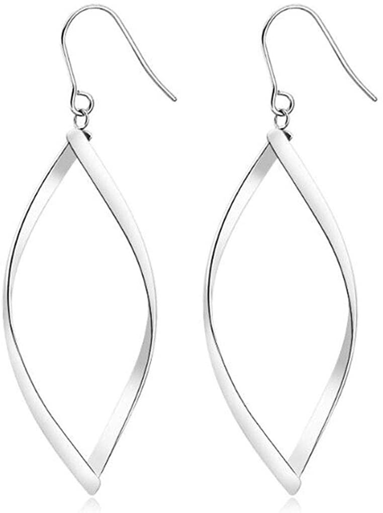 Silver Dangle Drop Earrings Rhombus Statement Hoop Earrings for Women Girls