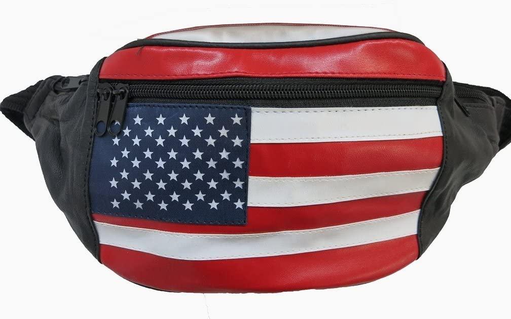 Genuine Leather USA Flag Fanny Pack, Stars & Stripes Waist Bag or Belt Bag. Great for Travel or Everyday Use