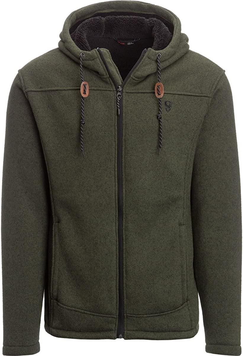 Stoic Sherpa Lined Sweater Fleece Jacket - Men's Dark Leaf, XL