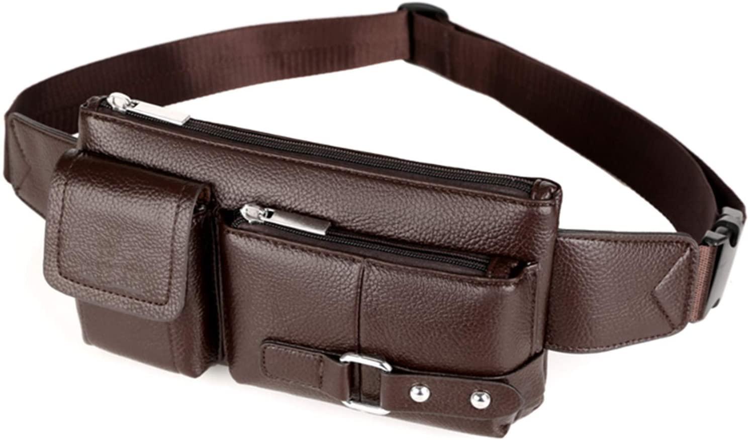 Luxury Waist Bag Men Leather Fanny Pack Chest Bag Male Casual Belt Bags Sling Crossbody Bum Bag Belly Waist Packs Heuptas,Brown