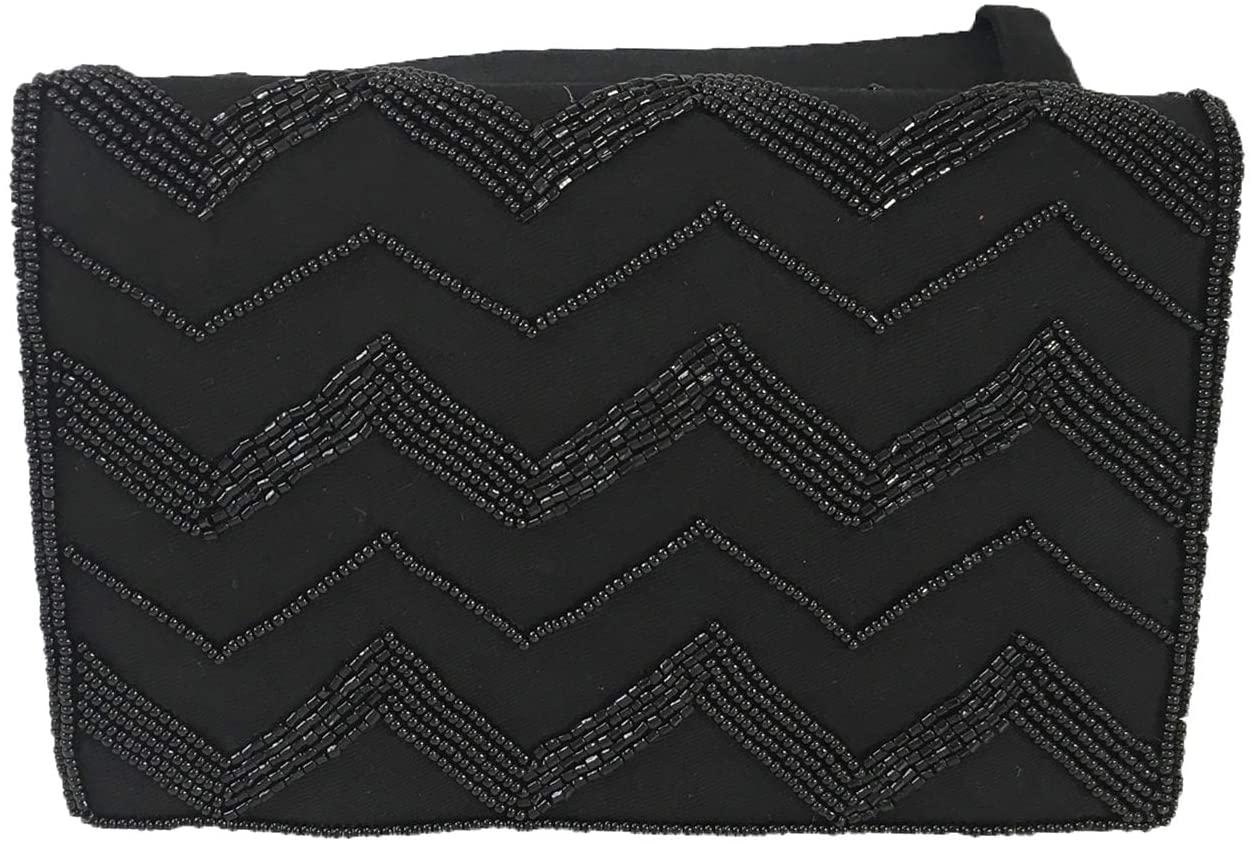 Mary Frances Zig Zag Beaded Belt Bag Waist Pack, Black