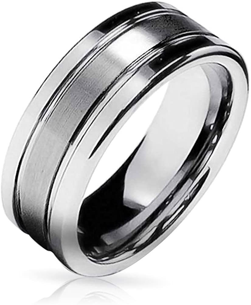 Bling Jewelry Simple Matte Center Stripe Couples Titanium Wedding Band Ring for Men for Women Silver Tone Comfort Fit 8MM