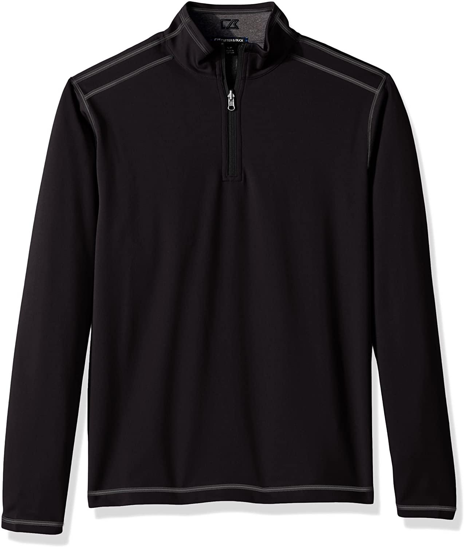 Cutter & Buck Men's 50+ UPF Stretch Evergreen Reversible Snap Placket Pullover, Black b, 3X Big