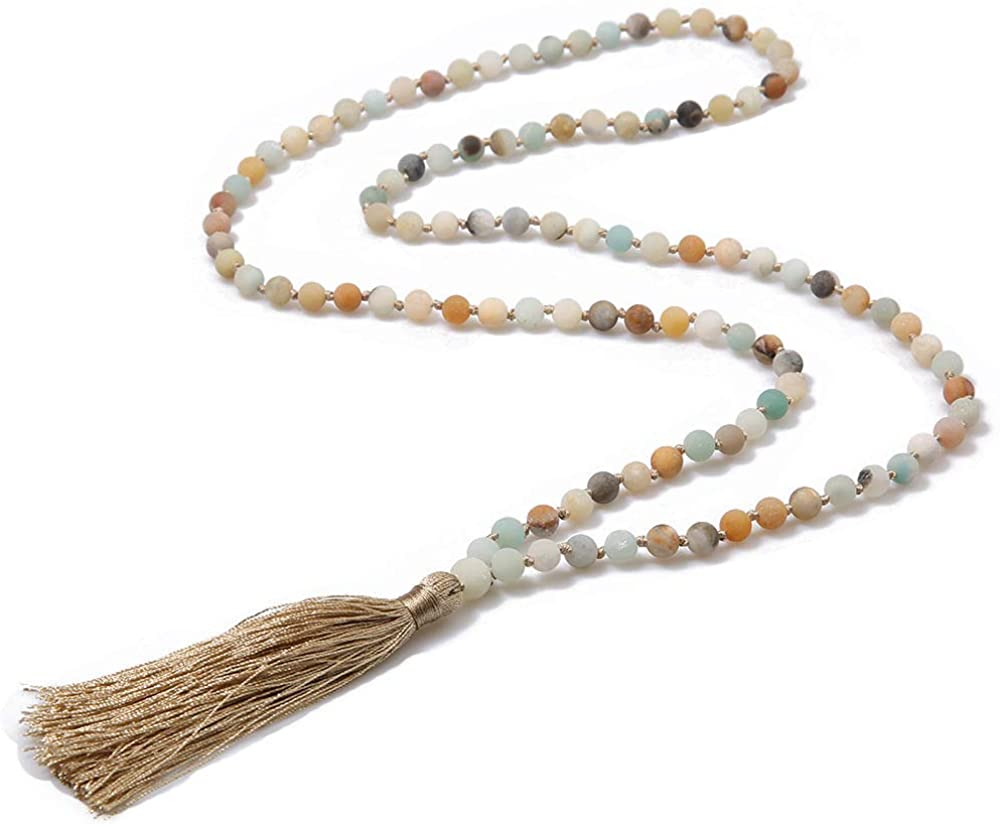 ZiMOJiE 108 Mala Beads Prayer Wrap Bracelet Necklace Hand Knotted Beaded Tassel Necklace for Meditation Rosary