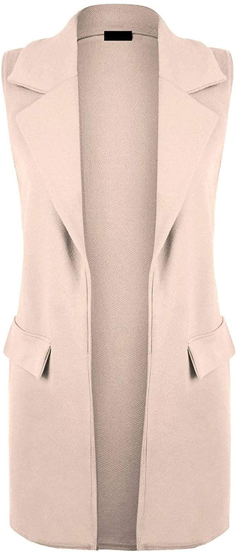 Ladies Womens Front Open Plain Sleeveless Duster Long Waistcoat Blazer Jacket