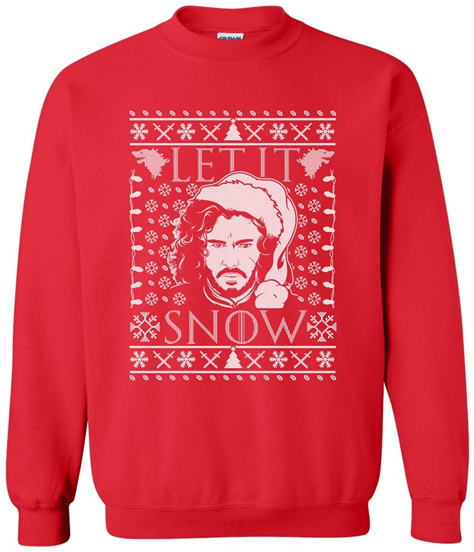Manateez Men's Ugly Christmas Sweater GOT Let it Snow Jon Crew Neck Sweater