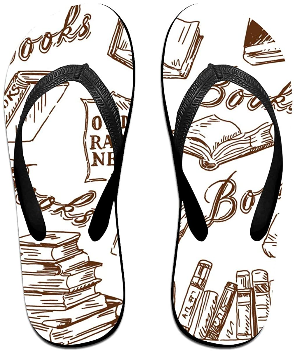 Mens Flip Flop Slippers Vintage Library Book Pattern Rubber Comfy Flip Flops Outdoor Beach Sandals