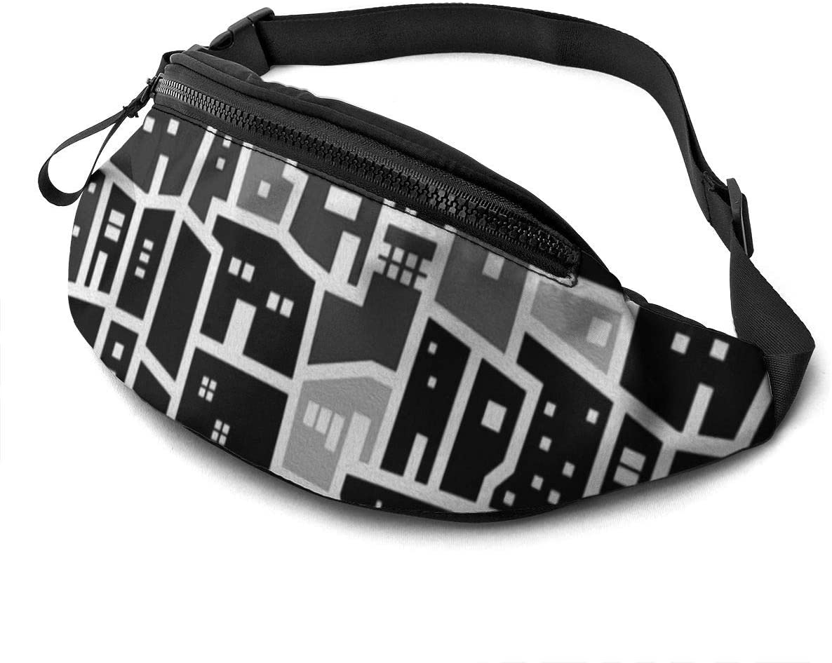 black house art pattern Fanny Pack for Men Women Waist Pack Bag with Headphone Jack and Zipper Pockets Adjustable Straps