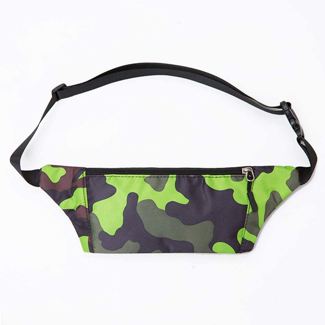 WENNEW Outdoor Sports Camouflage Running Men Oxford Spinning Multifunctional Raincoat Fluid Phone Close-Fitting Fanny Pack (Color : Green)