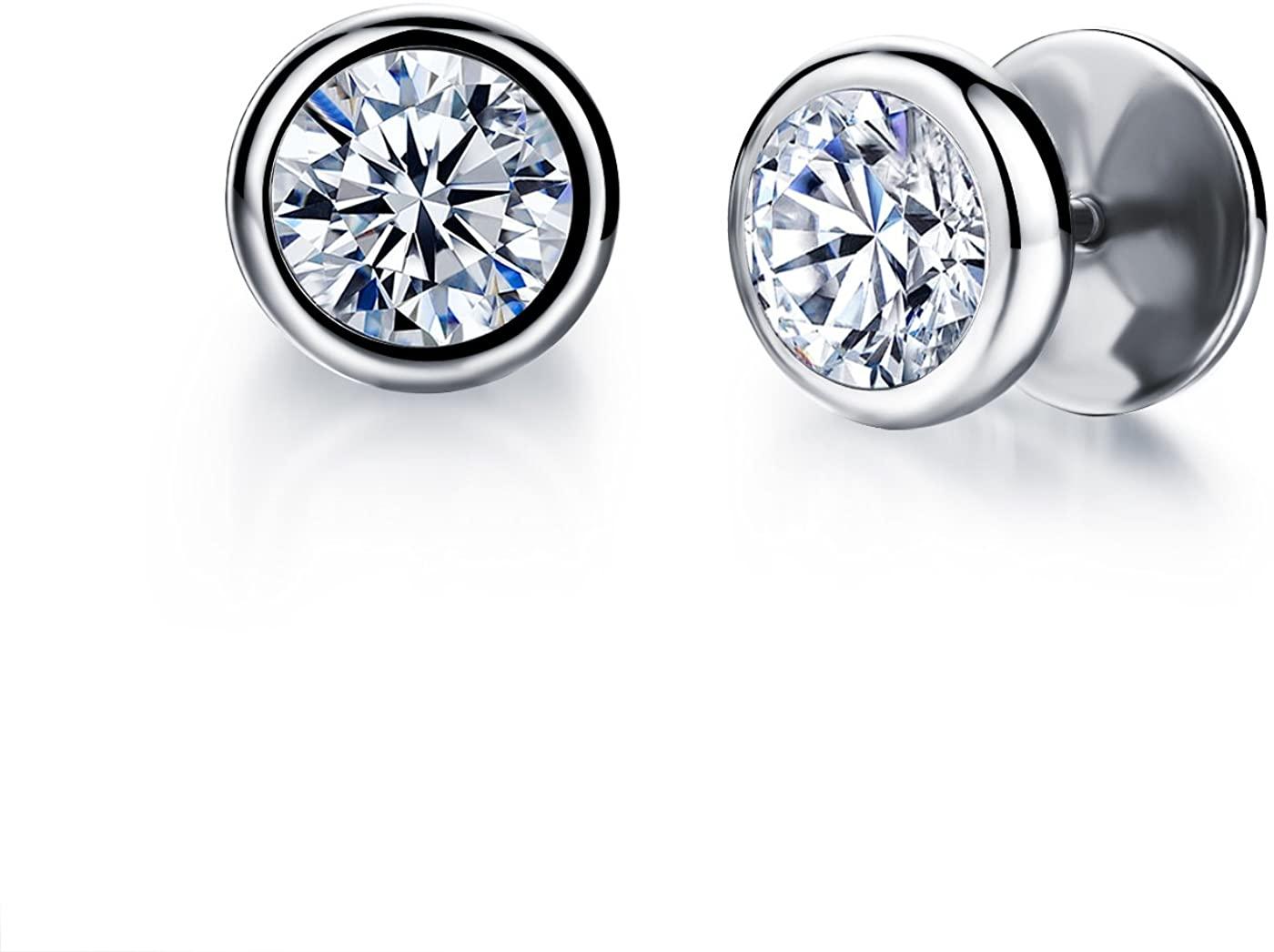 Fashion Earrings Titanium Steel AAA Rhinestone Stud Earrings for Women/Men