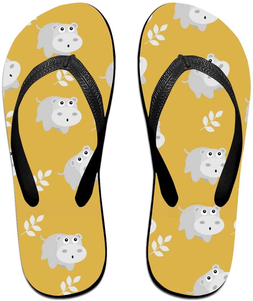 JINYOUR Hippopotamus Pattern Unisex Flip Flops Summer Slippers Shoes Beach Sandal