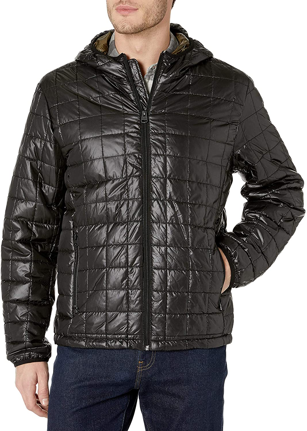 Levis Mens Sweaterweight Quilted Ultra Loft Hooded Puffer