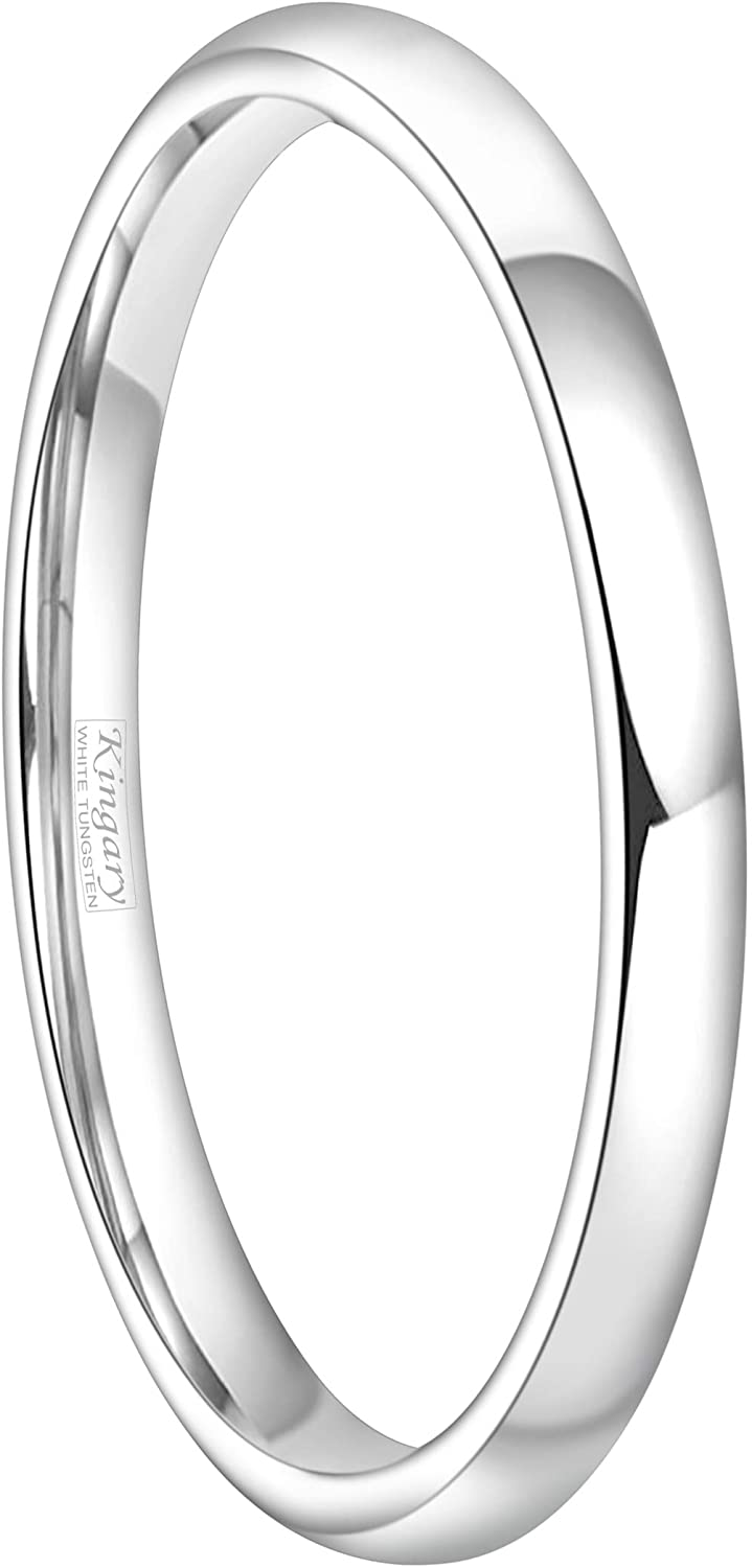 Kingary 2mm 4mm 6mm White Tungsten Couple Wedding Bands Rings Men Women Classic Domed Poished Size 3.5 to 16 (2mm,3.5)