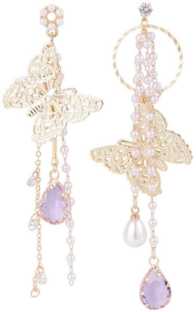 925 Silver Post Metal Butterfly Tassel Stud Earrings Pink Purple Acrylic Water Drop Asymmetric Earrings