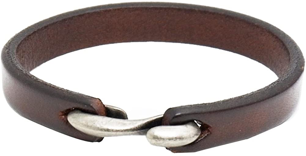 AZYOUNG Black Brown Orange Genuine Leather Bracelet for Young Girls Boys Easy S Hook Minimalist Narrow Bangle Cuff,21cm