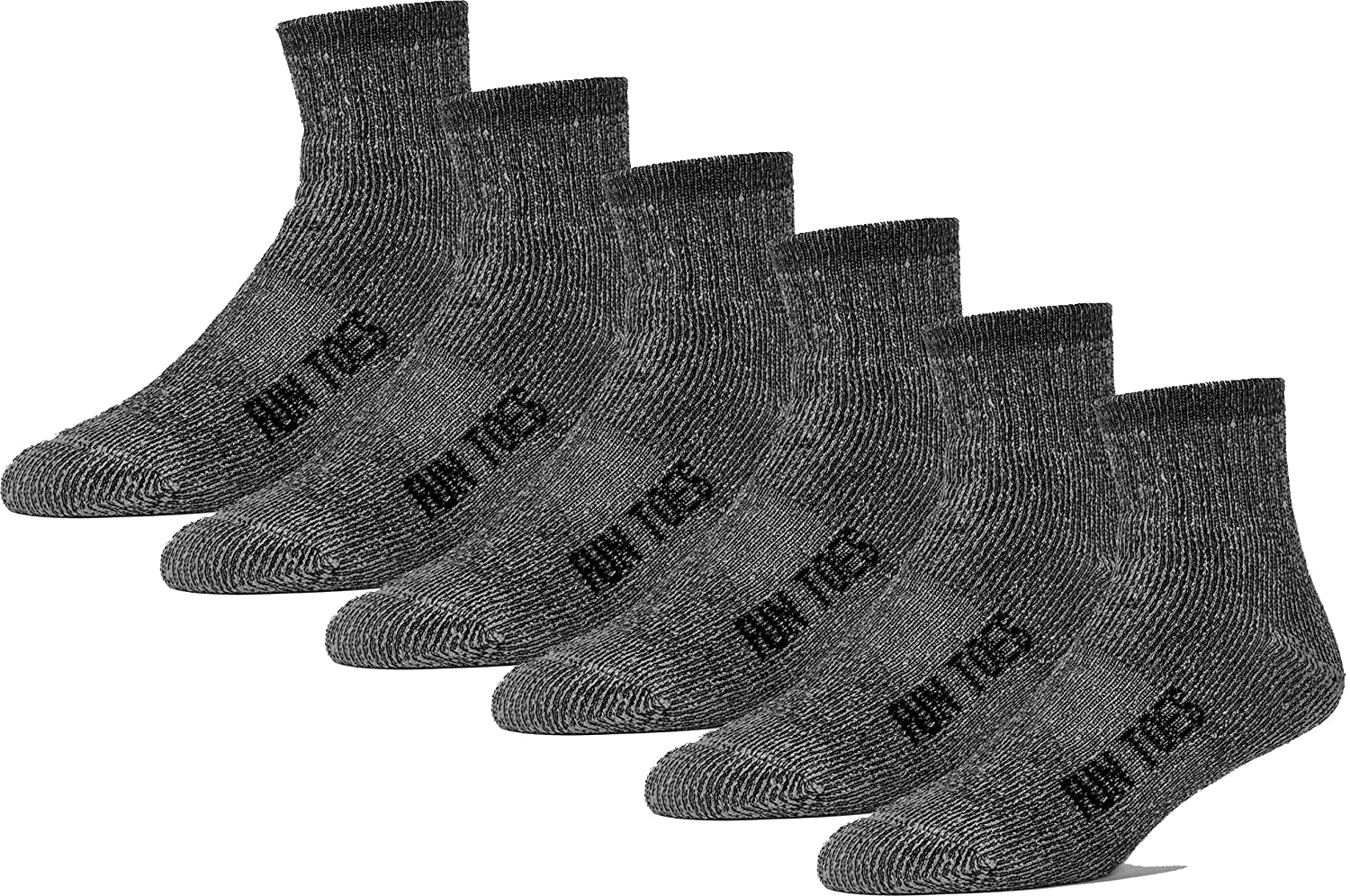 FUN TOES Men's 80% Wool Ankle Socks 6 Pack Strong Arch Support Winter Cushioned Bottom Ideal for Hiking