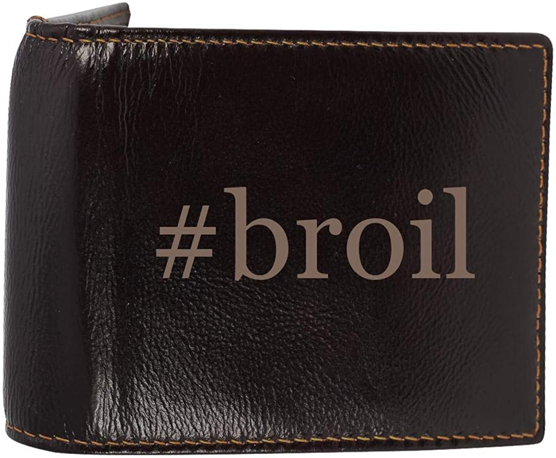 #broil - Genuine Engraved Hashtag Soft Cowhide Bifold Leather Wallet