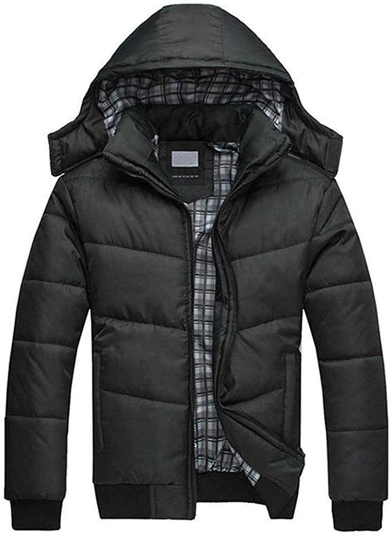 Mintsnow Mens Winter Down Jacket Outwear with Detachable Hood Black