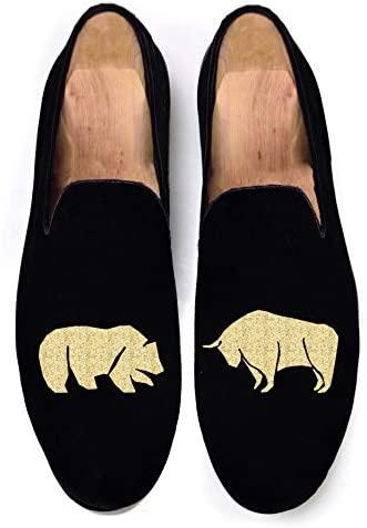 Black Men's Vintage Velvet Bear Vs Bull Embroidery Noble Loafer Shoes Slip-on Loafer Smoking Slipper
