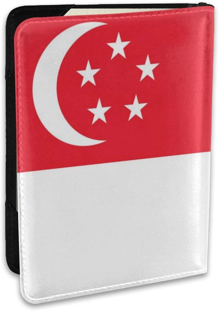 ALXX-HUAW Singapore Flag Fashion Trend Passport Holder,Leather Passport Holder,Male and Female for Traveling