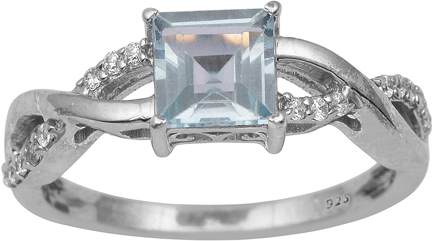 Blue Topaz & Cubic Zircon Gemstone Wave Shank Sparkle Ring 925 Sterling Silver