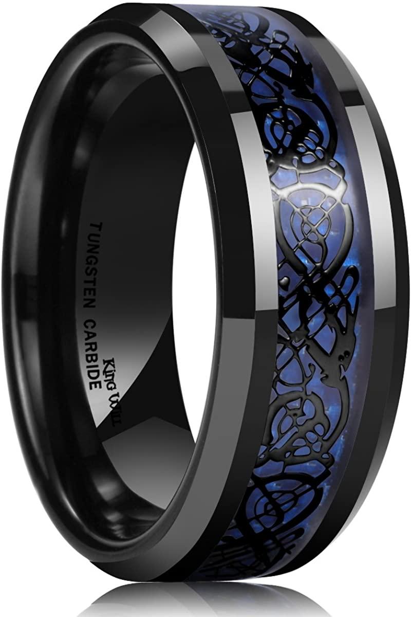 King Will Dragon Men's 8mm Blue Carbon Fiber Black Celtic Dragon Tungsten Carbide Ring Wedding Band