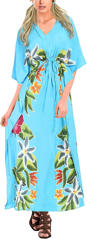 LA LEELA Women's Long Kaftan Dress Caftan Cover Up Sleepwear Tops Drawstring A