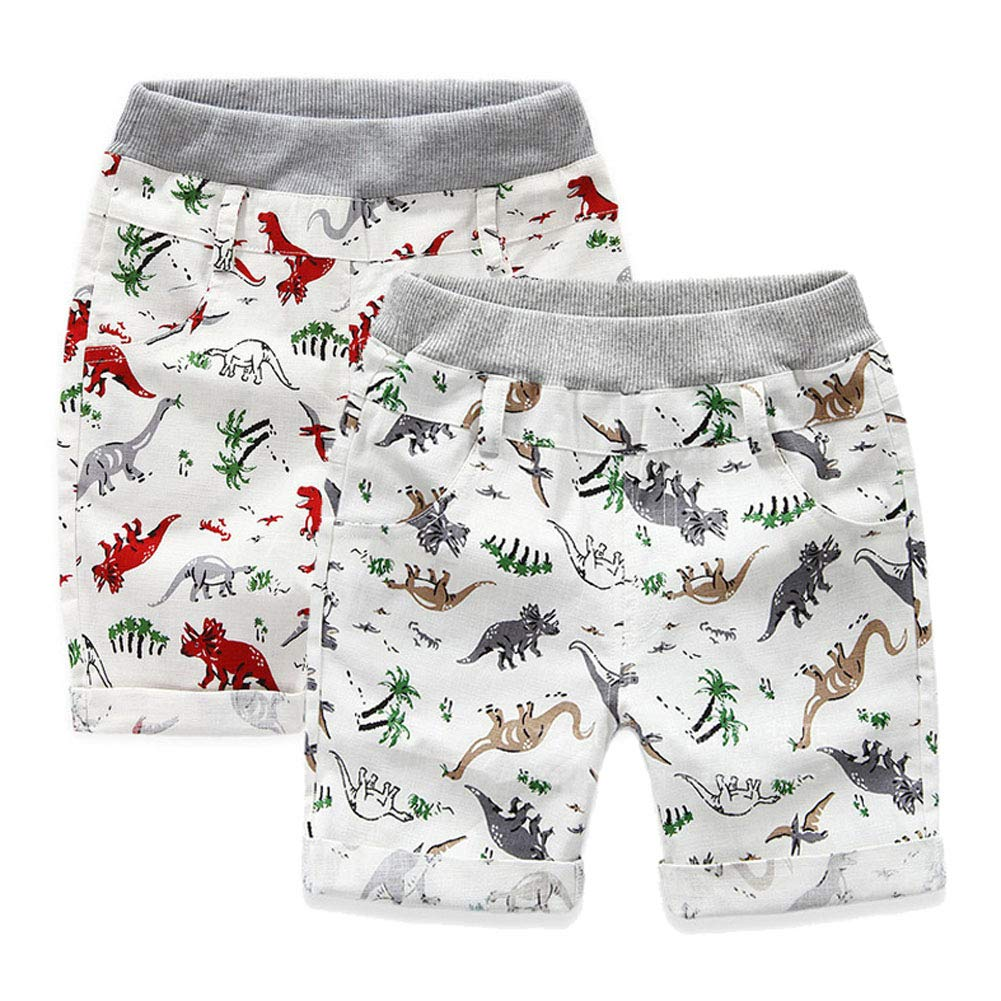 2-7 Year Boy's Pull On Midi Shorts Kids Basic Dinosaur Shorts