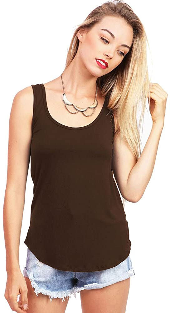 Emma's Closet Women's Basic Stretchy Tank Top, USA Made (M, Brown)