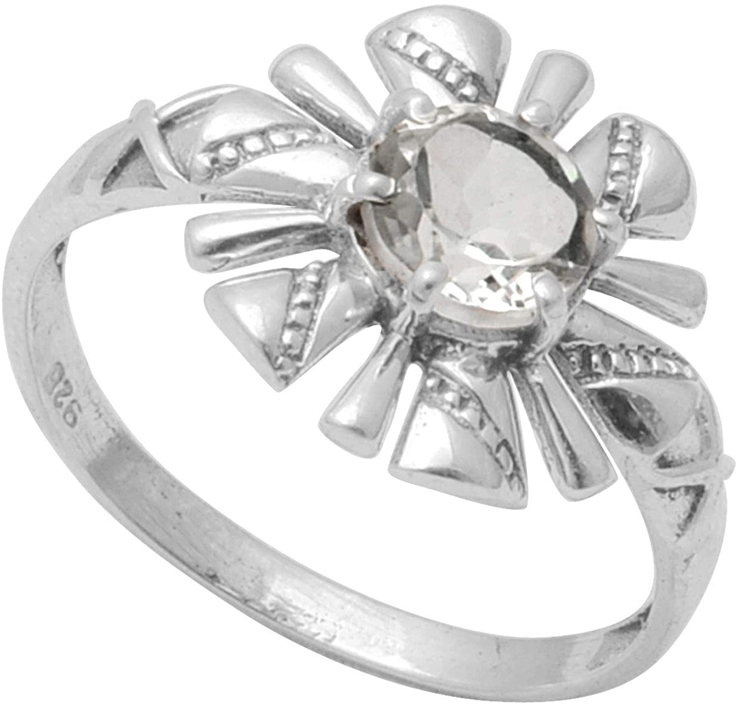 Silver Palace Natural White Topaz Gemstone 925 Sterling Silver Flower Ring For Womens & Girls