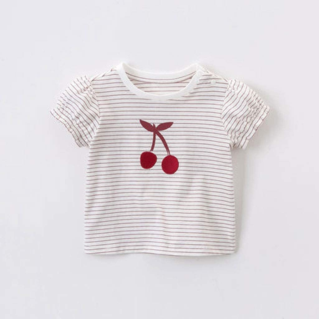 Kids' wear Girls Short-Sleeved T-Shirt Baby Summer New Kid's Bottoming Shirt Cotton Compassionate Girl Simple Red and White Stripes Sweet Cherry Embroidery Summer T-Shirt (Color : A, Size : 120CM)