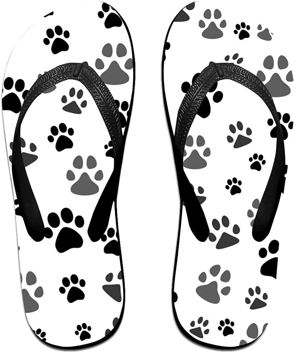 Mens Flip Flop Slippers Black Gray Dog Paw, White Rubber Cozy Flip Flops Outdoor Beach Sandals
