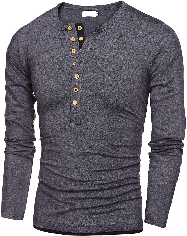 Misakia Mens Casual Slim Fit Henley Shirts (Gray XL)