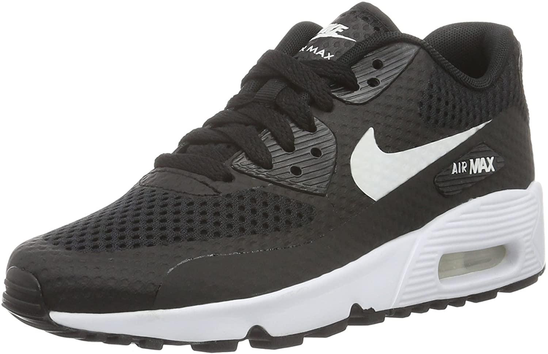 Nike Youths Air Max 90 Breathe Black White Mesh Trainers 40 EU