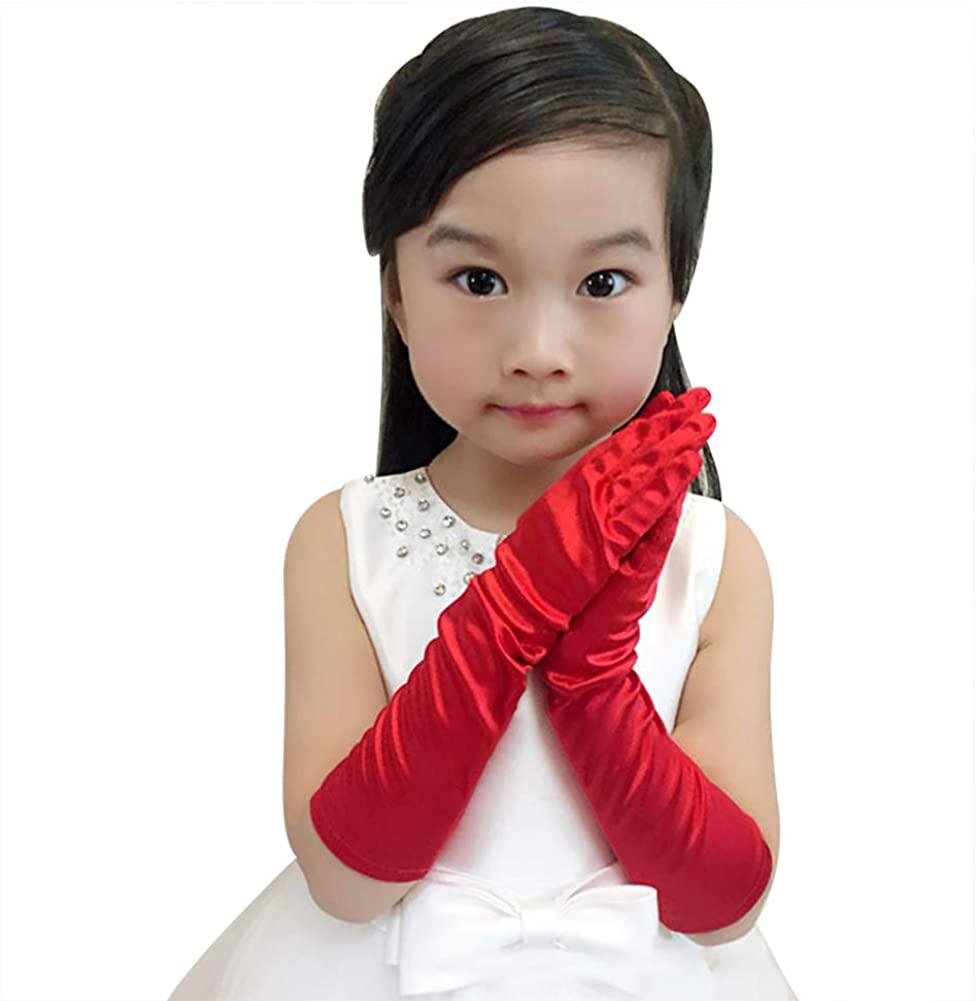 Kids Long Stretch Stain Gloves Children's Performance Long Finger Gloves Halloween Cosplay Gloves