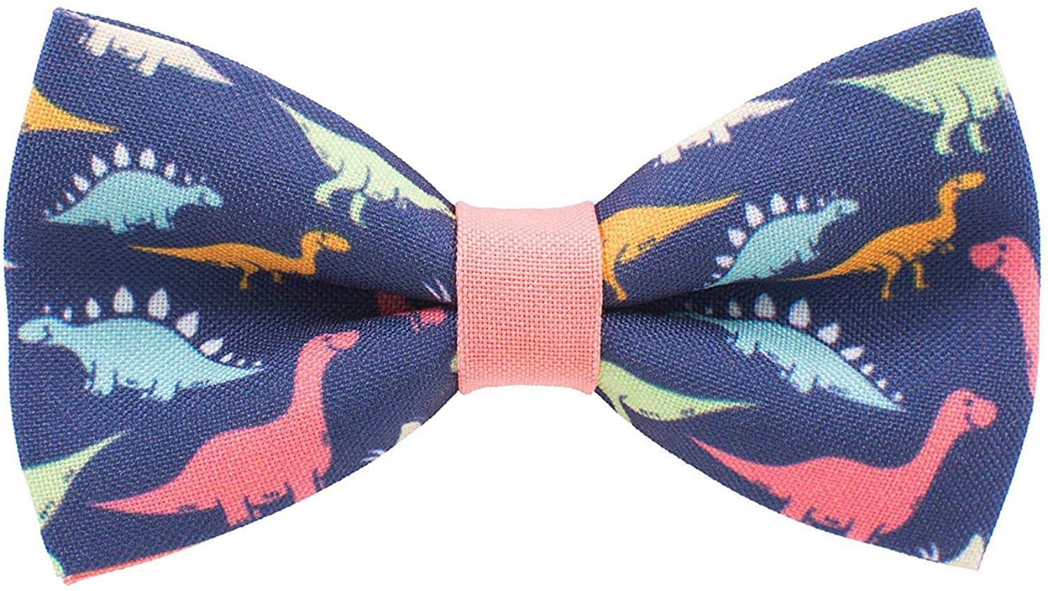 Dinosaurs bow tie pre-tied pattern blue-peach colors unisex shape, by Bow Tie House