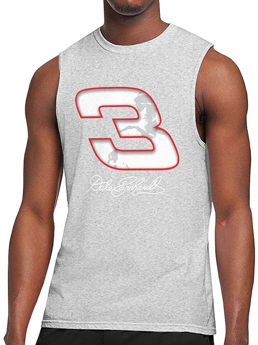 N/D Dale Earnhardt Race Funny Men's Summer Casual Sleeveless Vest Vest Sports T-Shirt Gray