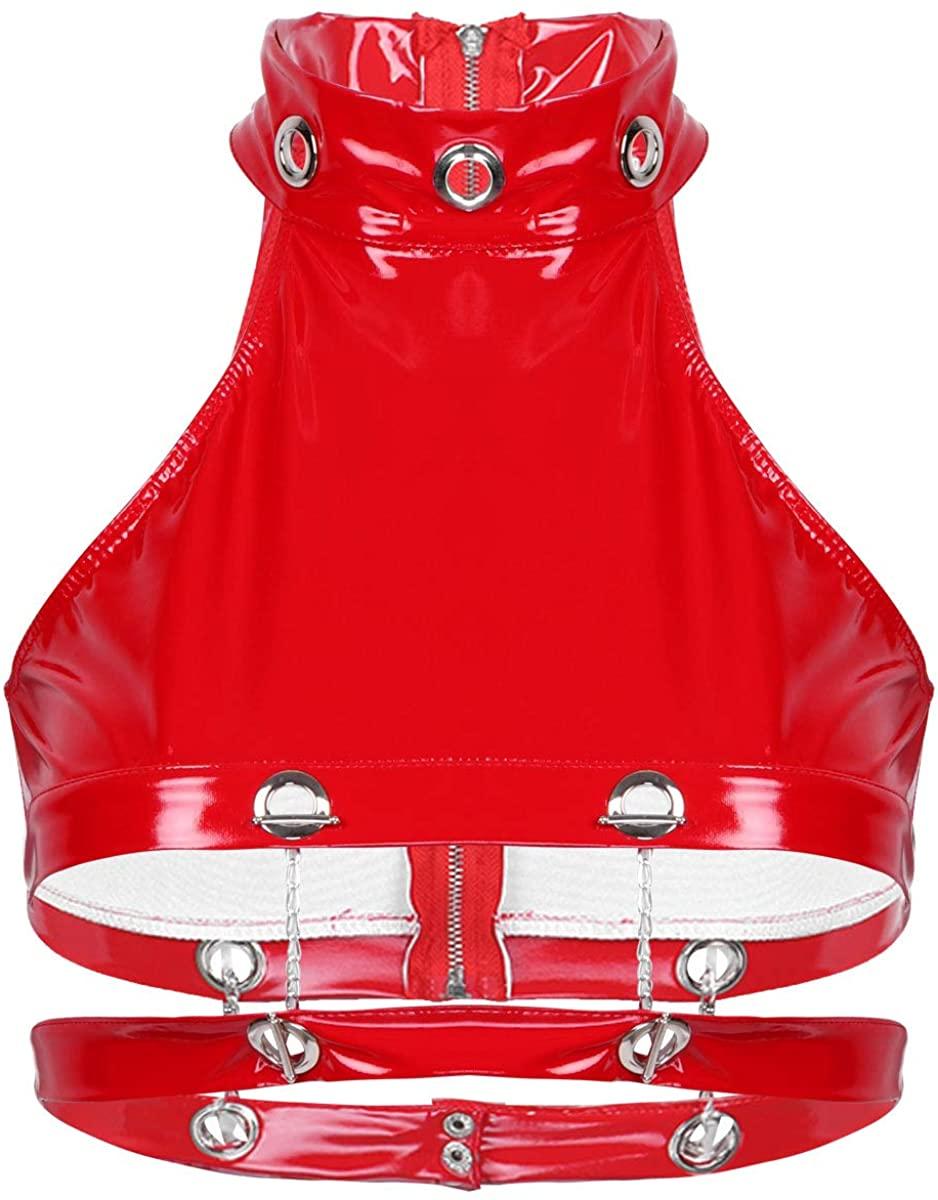 Freebily Women's Wet Look PVC Leather Bra Bustier Summer Crop Tops Vest Clubwear
