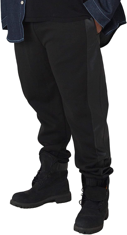 Vibes Big Men Black Fleece Jogger Pants with PU Side Stripes Elastic Cuff
