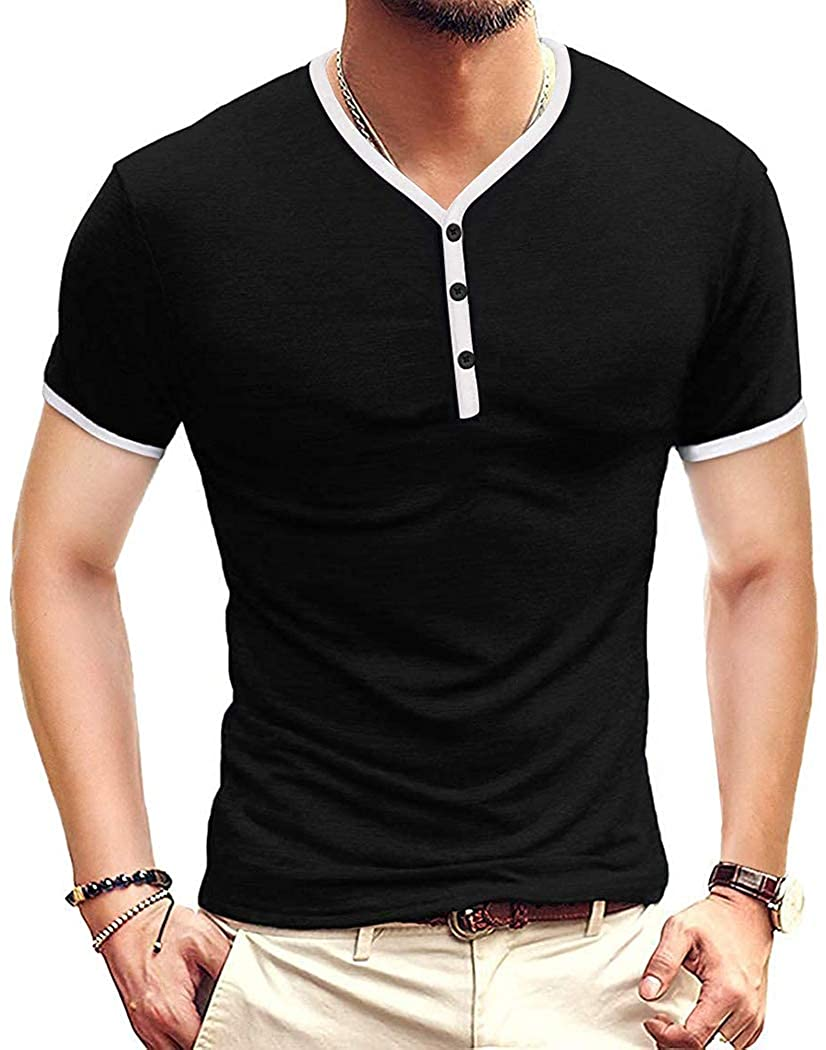 Miqieer Mens Slim Fit Henley T-Shirts Casual Premium Short Sleeve Cotton Shirts Lightweight