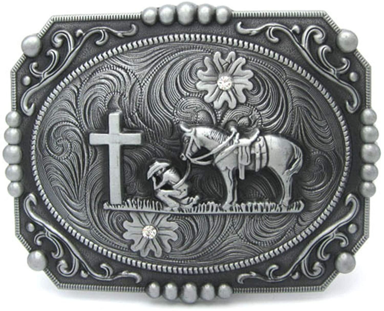 Square Christan Cowboy A Horse Cross Western Belt Buckle Floral Flower