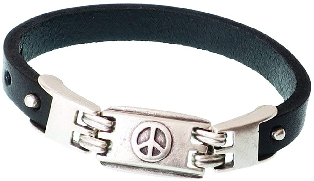 Mashala Sale Peace and Love Bracelet/Peace and Love/Men Peace and Love Bracelet/Pewter Peace and Love/Leather Bracelet/Gift for him