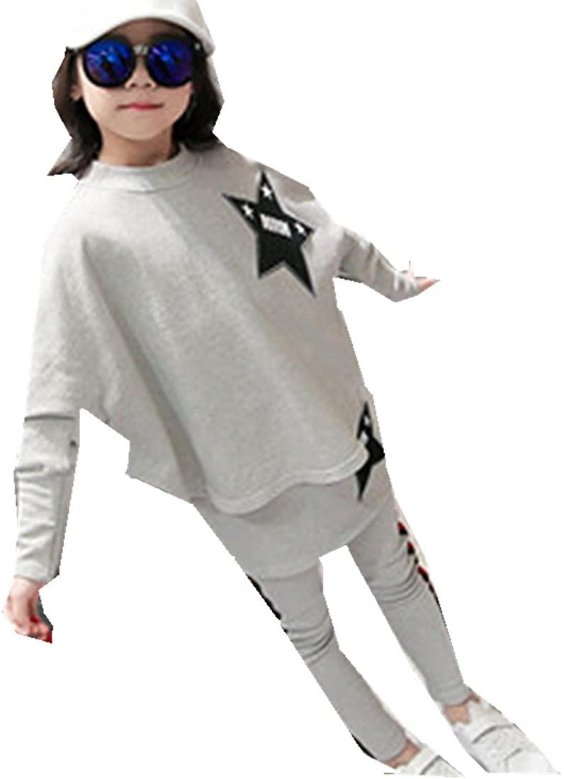MV Korean Girls Wear Autumn Two Piece Girl Child Kids Suit Clothing Grey
