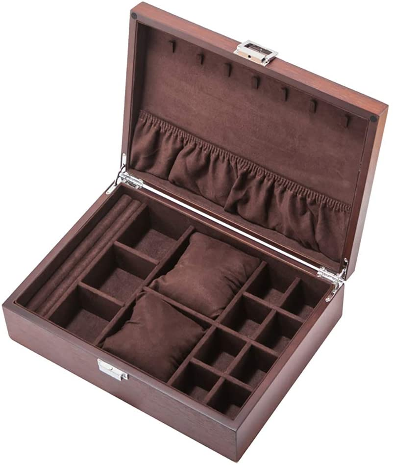 TOPYL Wooden Watch Box for Men Watch Jewelry Box Organizer with Velvet Liner,Watch Display Case Holder Large Watch Organizer Gifts Coffee 12x9x3inch