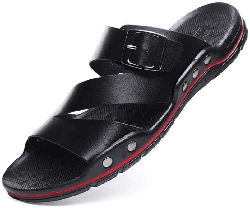 Breathable Sandals Men's Leather Casual Beach Shoes Summer wear Men's Soft Bottom Wild Sandals and Slippers-Black_39