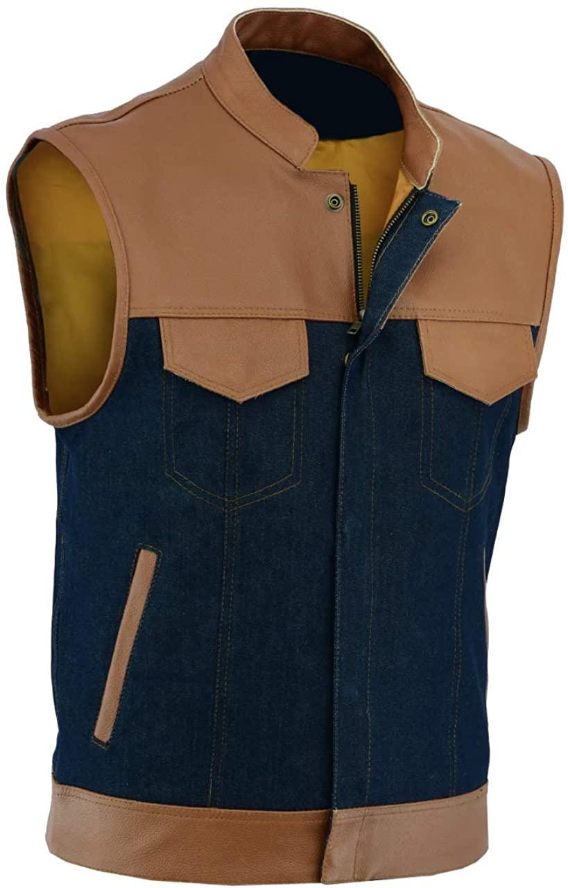 coolhides Mens Fashion Real Leather Biker Style Vest